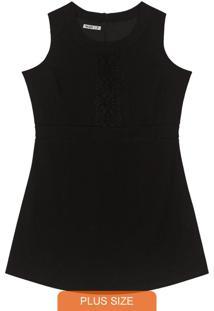 Vestido Crepe Feminino Preto