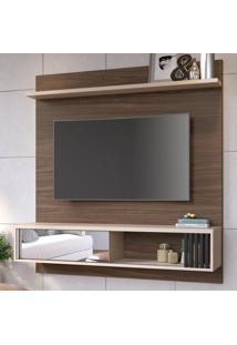 Painel Para Tv Até 55 Polegadas Ilheus 1 Porta Nogueira Real/Off White - Colibri Móveis