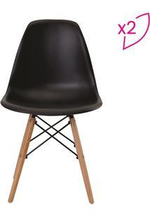 Conjunto De Cadeiras Eiffel Sem Braço- Preta & Marrom Clrivatti