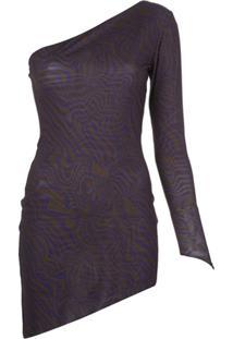 Maisie Wilen Vestido Ombro Único Com Estampa Gráfica - Roxo