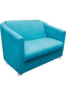 Namoradeira Decorativa Tilla 2 Lugares Suede Azul Tiffany - D'Rossi