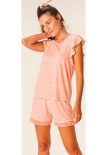 Pijama Salmão Listrado Com Linho