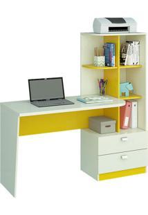 Escrivaninha Com Estante 2 Gv Elisa Branca E Amarela