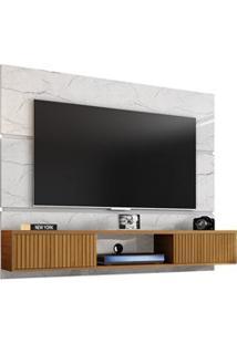 Painel Bancada Suspensa Para Tv Até 65 Pol. 2 Portas Âmbar Carrara/Cin