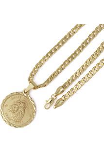 Pingente Santo Antônio Corrente 5Mm Tudo Jóias Folheado A Ouro 18K Dourada
