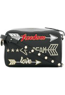 Red Valentino Bolsa Transversal Freedom, Dream, Love - Preto