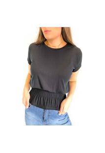 Camiseta Em Viscolycra Com Lastex Na Cintura - Preto