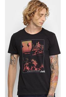 Camiseta Coca-Cola Estampada Masculina - Masculino-Preto