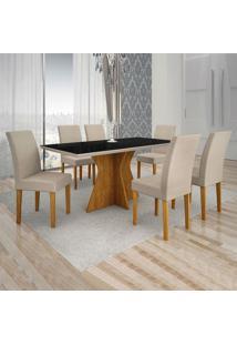 Conjunto De Mesa De Jantar Creta Com 6 Cadeiras Olímpia Veludo Preto E Palha