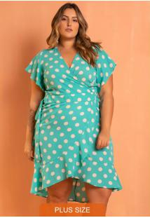 Vestido Poá Tiffany Transpassado Plus Size Azul