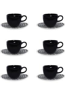 Jogo Xícaras De Café Com Pires Oxford Porcelana 12 Peças Ryo Ink