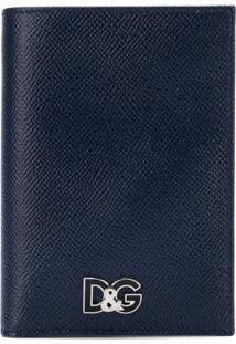 Dolce & Gabbana Carteira De Couro Com Logo Em Placa - Azul