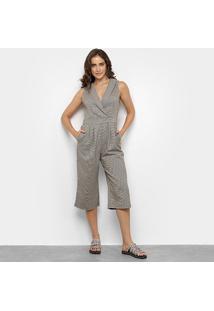 Macacão Lily Fashion Pantacourt Feminino - Feminino-Bege