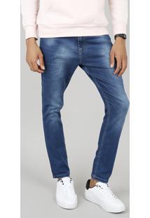Calça Jeans Masculina Carrot Azul Médio