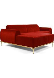 Sofá 3 Lugares Com Chaise Base De Madeira Euro 245 Cm Veludo Vermelho Gran Belo