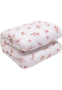 Edredom Lynel Bebezinho Bouquet Fio Penteado 100X140Cm Branco/Rosa