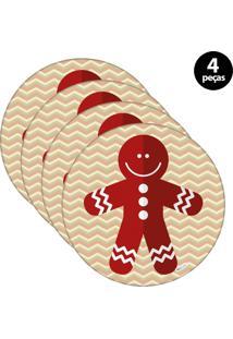 Capa Para Sousplat Mdecore Natal Biscoito Bege 4Pçs