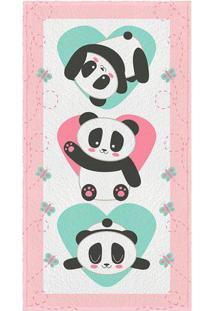 Toalha De Banho Felpuda Panda- Rosa Claro & Verde Claro