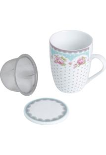 Caneca De Porcelana Super White Com Tampa E Filtro Amélia Branco/Verde 310Ml Com Caixa De Presente Lyor