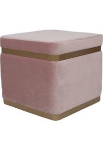 Puff Banqueta Decorativo Square Gold Veludo Rosa