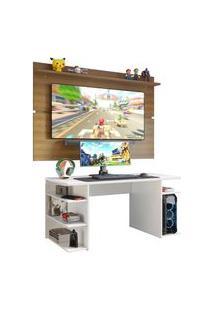 Mesa Para Computador Gamer E Painel Tv Madesa Branco/Rustic Branco