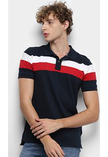 Camisa Polo Tommy Hilfiger Chest Stripe Slim Masculina - Masculino-Branco+Vermelho
