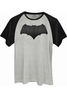 Camiseta Raglan Dc Comics Batman Vs Superman Logo Batman Bandup! - Masculino-Cinza+Preto
