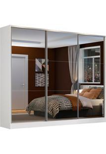Guarda Roupa Casal 100% Mdf Zurique 3 Portas De Correr Com Espelho Madesa
