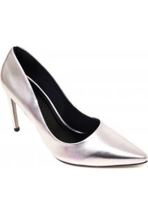Sapato Zariff Scarpin Metalizado Salto Alto Bico Fino