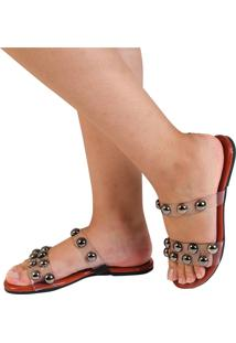 Rasteira Mercedita Shoes Cristal Borgonha