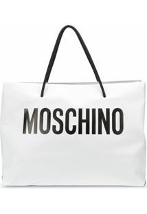 Moschino Bolsa Tote De Couro Com Estampa De Logo - Branco