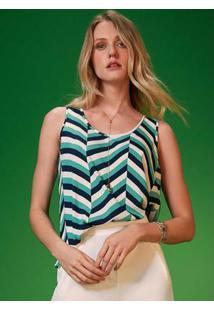 Blusa Tecido Estampa Listrada Verde