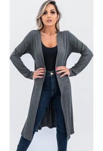 Cardigan Kimono Longo Plus Size Juquitiba Brasil Cinza - Cinza - Feminino - Viscose - Dafiti