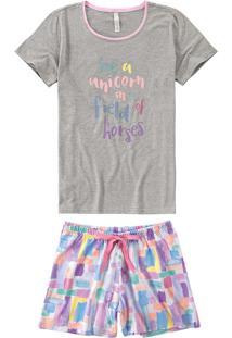 Pijama Curto Estampado Unicorn Malwee Liberta