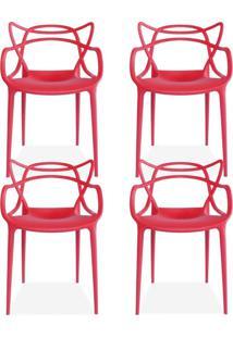 Kit 04 Cadeiras Decorativas Lyam Decor Amsterdam Vermelho.