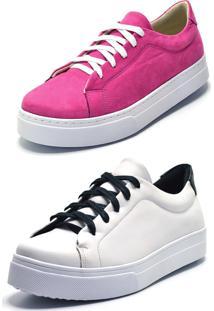 Tênis Casual Kit 2 Pares Gisela Costa Pink/Branco