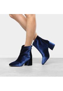 Bota Cano Curto Drezzup Basic Veludo Feminina - Feminino-Azul Escuro
