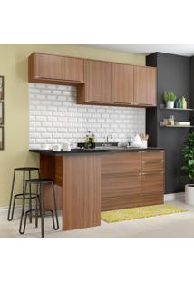 Cozinha Compacta 6 Portas 3 Gavetas 5460R Nogueira/Malt - Multimóveis