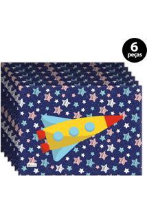 Jogo Americano Mdecore Foguete Azul Marinho 6Pçs