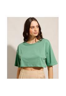 Camiseta Box Cropped Básica De Algodão Manga Curta Decote Redondo Verde Claro