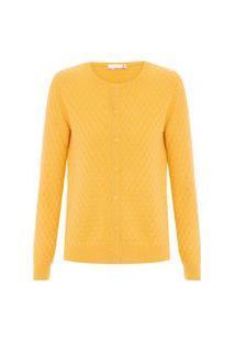 Cardigan Feminino Cashmere Tranças Com Botões - Amarelo