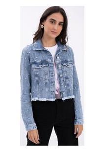 Jaqueta Jeans Cropped Com Tachas