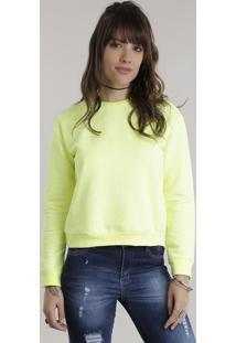 Blusão Em Moletom Amarelo Neon