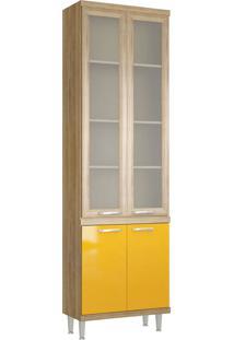 Paneleiro 4 Portas 700Mm Sicília Com Vidro Argila E Amarelo-Gema Multimóveis