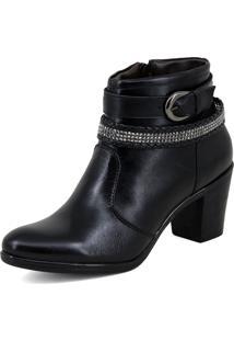 Bota Feminina Couro Ankle Boots Cano Médio Preta