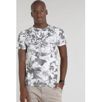 0edaa3bb4c051 Camiseta Masculina Slim Fit Estampada Floral Manga Curta Gola Careca Branca