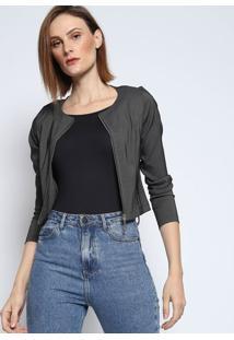 Jaqueta Lisa Com Recortes - Cinza Escuro- Le Fixle Fix