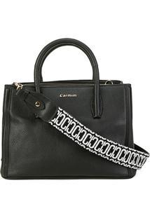 Bolsa Couro Carmim Handbag Yvone Feminina - Feminino-Preto