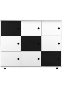 Nicho Multiuso Organizador Com Rodízios Amã 9 Portas L03 Branco/Branco