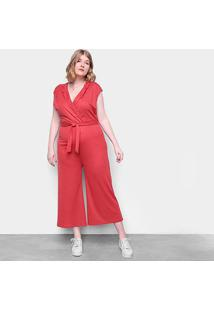 Macacão Eagle Rock Plus Size Pantalona Gola V Feminino - Feminino-Vermelho